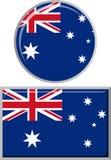 Australische ronde en vierkante pictogramvlag Vector Stock Fotografie