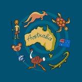 Australische vectorkrabbelreeks Stock Afbeeldingen
