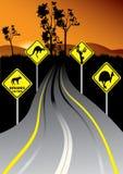 Australische verkeersteken naast de weg Royalty-vrije Stock Foto's