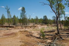 Australische vlakte met de schade van de vloedgrond Royalty-vrije Stock Foto