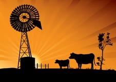 Australische windmolen en koeien in het binnenland van Australië stock illustratie