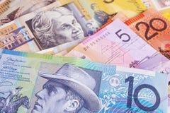 Australischer Bargeld-Hintergrund Stockfotos