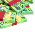 Australischer Dollar-Anmerkungen zerstreuter Stapel Lizenzfreies Stockfoto