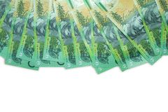Australischer Dollar, Australien-Geld 100 Dollar Banknotenstapel auf weißem Hintergrund Lizenzfreie Stockfotografie