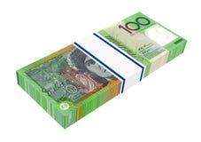 Australischer Dollar lokalisiert auf weißem Hintergrund. Stockfotografie