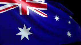 Australischer Flaggen-Hintergrund, der im Wind nahtloses Schleifungsluma Matt-4K durchbrennt stock video