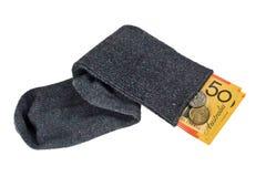 Australisches Bargeld in einer Socke Stockfotografie