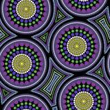 Australisches eingeborenes nahtloses Vektormuster mit punktierten Kreisen und gekrümmten Quadraten vektor abbildung