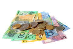 Australisches Geld auf Weiß Stockbild