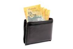 Australisches Geld in der Mappe Lizenzfreie Stockfotos