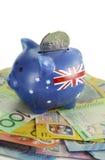 Australisches Geld mit Sparschwein Stockbild
