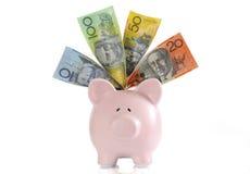 Australisches Geld mit Sparschwein Stockbilder
