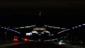Australisches Parlamentsgebäude nachts stock footage