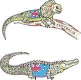 Australisk ödla och krokodil Arkivbild
