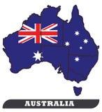 Australisk översikt och australisk flagga royaltyfri illustrationer