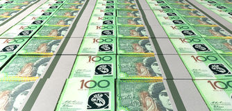 Australisk dollar Bill Bundles Laid Out Royaltyfria Bilder