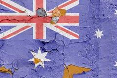 Australisk flagga som målas på en tegelstenvägg Australien flagga texturerad abstrakt bakgrund Arkivfoto