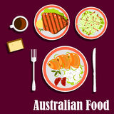 Australisk kokkonst med fisken, kött och sallad Royaltyfri Foto