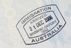 Australisk stämpel för invandringankomstpass royaltyfria foton
