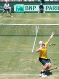 Australisk tennisspelare Sam Groth under Davis Cup singlar Fotografering för Bildbyråer