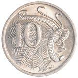 10 australiska cent mynt Royaltyfri Bild