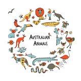 Australiska djur ställer in, skissar för din design Royaltyfria Bilder