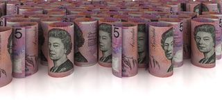 5 australiska dollar bakgrund Arkivbilder