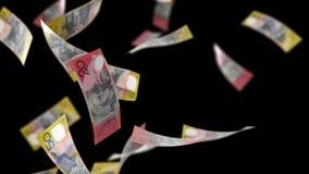 Australiska dollar pengar som faller på svart med Luma Matte Seamless Loop 4K stock illustrationer