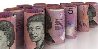 5 australiska dollar Rolls Arkivfoton