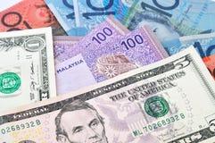 Australiska dollar som förenas statliga dollar och Malaysia ringgit Malaysia Royaltyfri Bild