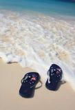 Australiska läderremmar på på strandferien Arkivbilder