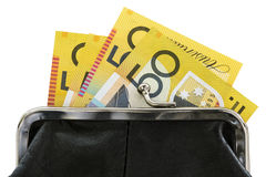 Australiska pengar i handväska över vit bakgrund Arkivbild