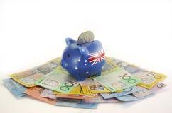 Australiska pengar med spargrisen Royaltyfria Foton