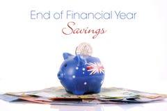Australiska pengar med spargrisen Royaltyfri Foto