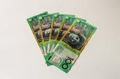 Australiska pengar - valuta för femhundra Aussie Arkivfoto