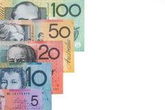Australiska sedlar på vit bakgrund Arkivfoton