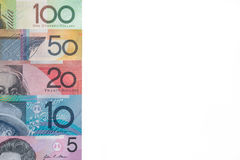 Australiska sedlar som isoleras på vit bakgrund Fotografering för Bildbyråer