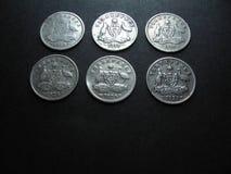 Australiska silvermynt för tappning Arkivbild