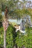 Australiskt hus som beskådas till och med träden med palmträdet i förgrund och eukalyptusträd bakom jpg Royaltyfria Bilder