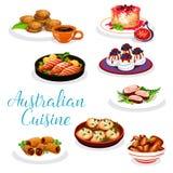 Australiskt kokkonstkött och att fiska disk, efterrätter royaltyfri illustrationer