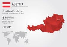 Austria światowa mapa z piksla diamentu teksturą Obrazy Stock