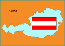 Austria. Vector map and flag of Europe country Austria Stock Photography