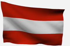 Austria 3D flag. Isolated on white background Stock Photos