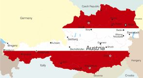 Austria. Abstract vector color map of Austria country coloured by national flag Stock Photography