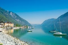 Austria, Achensee lake in sommer. Panoramic view of the Achensee lake and Pertisau hotels ski resort in Tirol,  Austria Royalty Free Stock Photography