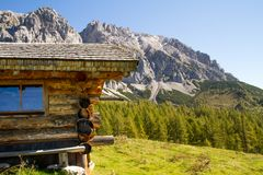 Austria. Alpine ridge- 09/25/2018: Dachstein mountain at an altitude of 3500 meters above sea level. Austria. Alpine ridge- 09/25/2018: Dachstein mountain at an royalty free stock image