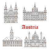 Austria architecture buildings vector icons. Austrian historic architecture buildings and landmarks. Vector icons and facades of Salzburg and St Polten cathedral Royalty Free Stock Image