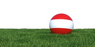 Austria Austrian flag soccer ball lying in grass world cup 2018. Isolated on white background. 3D Rendering, Illustration Royalty Free Stock Image