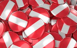 Austria Badges Background - Pile of Austrian Flag Buttons. 3D rendering Stock Photos