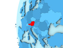 Austria on blue globe. Map of Austria on simple blue. 3D illustration Stock Photo